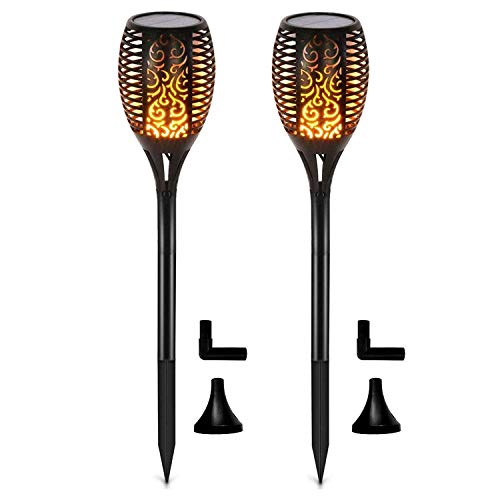 Otdair Solar Lights Outdoor Waterproof Dancing Flickering Flame Torch Lights Solar Spotlights Landscape Decoration Lighting Dusk to Dawn Auto On/Off Security Torches for Patio Garde