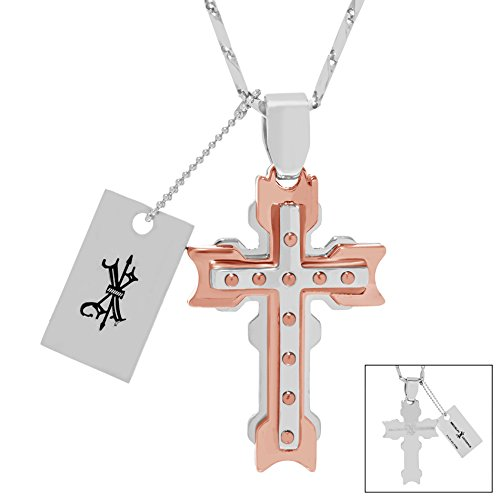 Brooklyn Exchange Men's Two-Tone Stainless Steel 3D Cross with Rivets Arrow Pendant 24