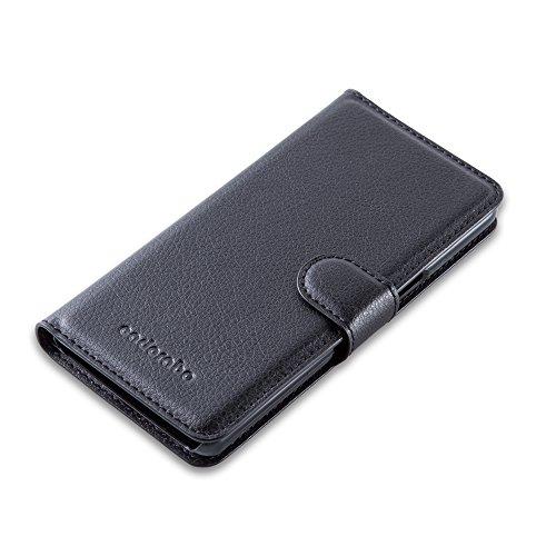Cadorabo - Funda WIKO HIGHWAY SIGNS Book Style de Cuero Sintético en Diseño Libro - Etui Case Cover Carcasa Caja Protección (con función de suporte y tarjetero) en NEGRO-FANTASMA