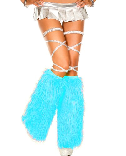 MUSIC LEGS Women's Faux Fur Leg Warmers, Turquoise, One Size