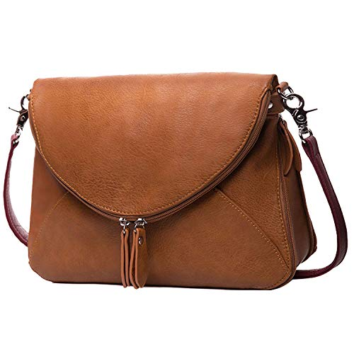 AMELIE GALANTI Crossbody Bags for Women, Medium Purses and Handbags Zipper Shoulder Bags Satchel with PU Leather Flap and Adjustable Strap Brown