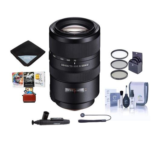 Sony 70-300mm F4.5-5.6 G SSM II Telephoto Zoom Lens - Bundle With 77mm Filter Kit, Lens Wrap (19x19), LensPen Lens Cleaner, Capleash, Cleaning Kit, Mac Software Package (Ssm Package)