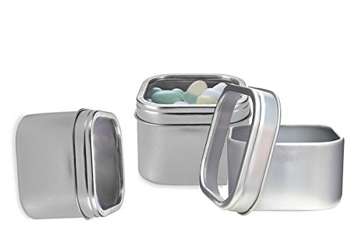 Deep Metal Square Tins Box With Window Lid Candle Container 2oz (6pcs) ()