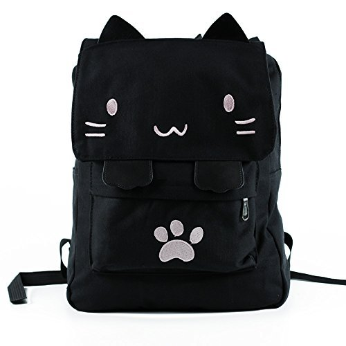 Black College Cute Cat Embroidery Canvas School Laptop Backpack Bags For Women Kids Plus Size Japanese Cartoon Kitty Paw Schoolbag Ruchsack Girls Boys Outdoor Accessories Daypack Bookbag (02Pink)