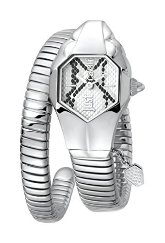 Just Cavalli Women's JC1L001M0115 JC DNA Silver Dial with Silver Stainless-Steel Band Watch. (Watch Snake)
