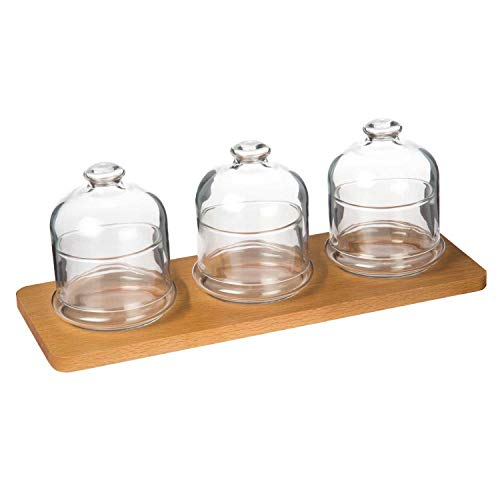 Wooden Serving Tray With 3 Lidded Glass Jam Jars | Serving Ramekins with Caps | Decorative Serveware | Ideal for Tastings, Catered Events and Buffets | Home, Kitchen, Café, Dining Tabletop Accessory