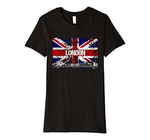 Womens London Skyline Vintage Look Union Jack Flag T-Shirt Small Black