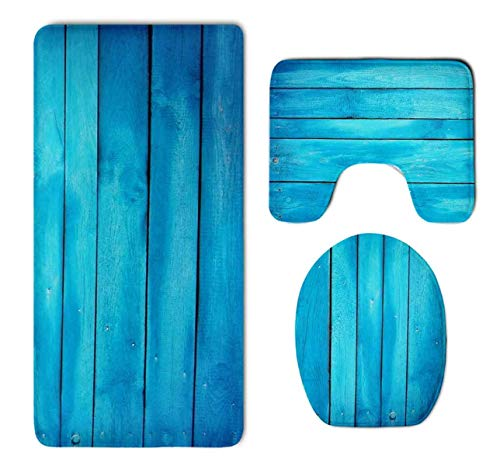 - QIFEN Sea Blue Old Wooden Oak Plank Striped Woods Thicken Skidproof Toilet Seat U Shaped Cover Bath Mat Lid Cover
