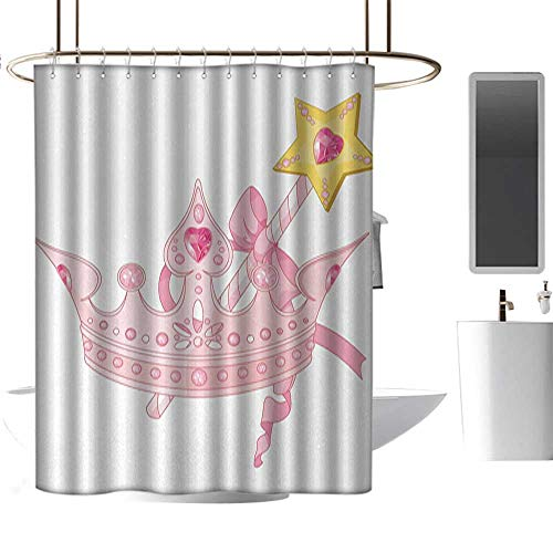 - RenteriaDecor Shower Curtains That Split in The Middle Princess,Crown and Magic Wand for True Princess Ribbon Golden Antique Artwork Print,Light Pink Yellow,W48 x L84,Shower Curtain for Bathroom