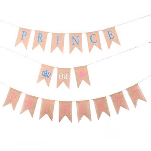 Junxia Prince or Princess Natural Bunting Burlap Banner for Baby Shower Newborn Baby Celebration -