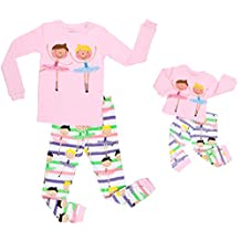"Elowel Ballerina"" Matching Girl & Doll 2 Piece Pajamas 100% Cotton (2-10 Years)"