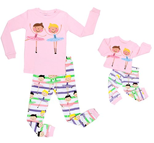 Elowel Ballerina Matching Girl & Doll 2 Piece Pajama Set 100% Cotton 2 Years