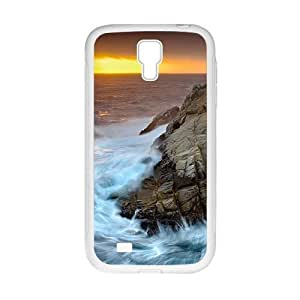 Personalized Creative Cell Phone Case For Samsung Galaxy S4,orange sky and roaring sea waves