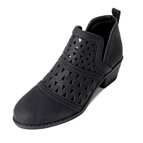 Best Winter Booties Women Ankle Heel Black Flat Low Round Toe Comfort Botas Vaqueras De Mujer Work Walking Dress Valentines Day Bootie Boot Shoe Under 30 Dollars For Sale Teen Girl (Size 10, Black)