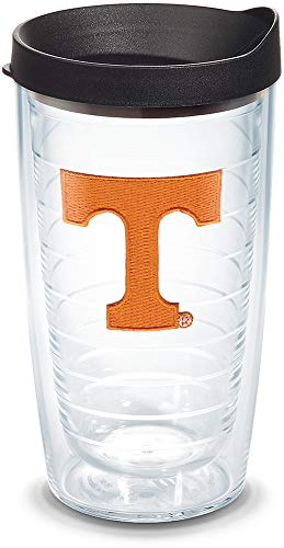 Tervis 1056595 Tennessee Volunteers Logo Tumbler with Emblem and Black Lid 16oz, Clear
