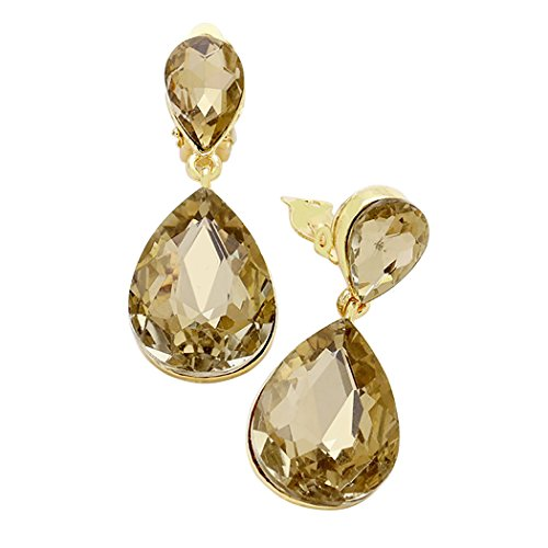 Rosemarie Collections Women's Double Teardrop Crystal Statement Clip On Earrings (Gold Tone/Topaz)