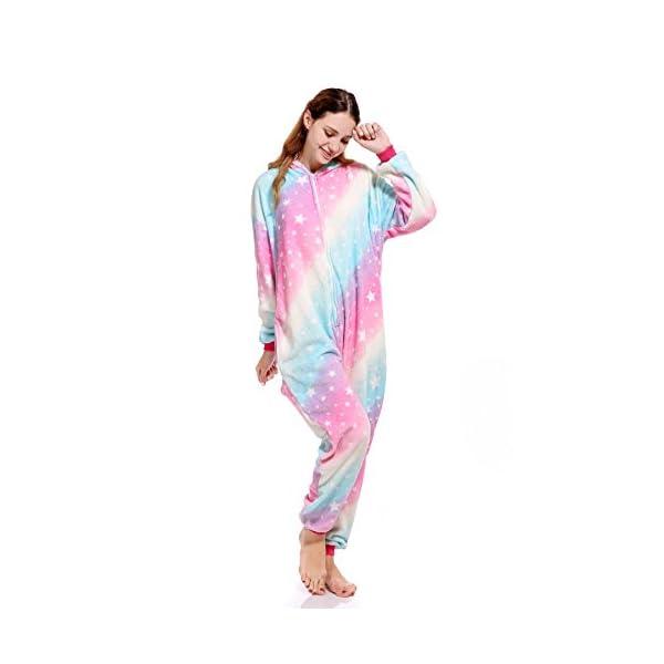 molto carino 84259 e8722 Pigiama Unicorno Kigurumi Donna Uomo Aggiorna Flanella Cappuccio Pigiama  Tuta Intera Onesie Stitch Sleepwear Anime Costume per Compleanno Carnevale  ...