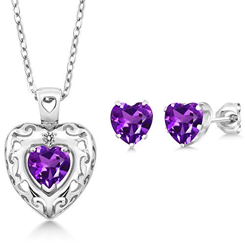 Amethyst Diamond Pendant Watch (1.97 Ct Purple Amethyst White Diamond 925 Sterling Silver Pendant Earrings Set)