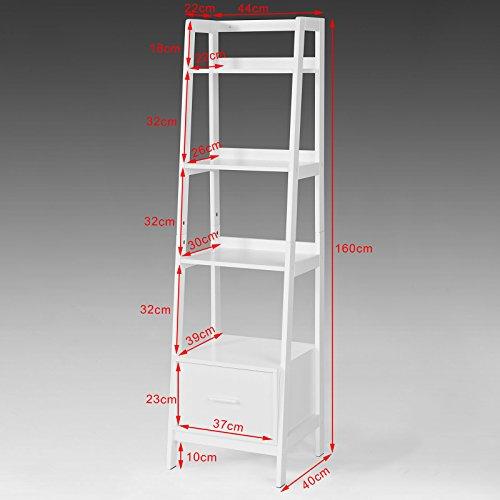 SoBuy Haotian Modern ladder bookcase made of wood, book shelf,stand shelf, wall shelf (FRG116-K-W) by SoBuy (Image #6)
