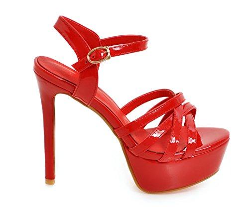 pour à Sandales Mariage Cheville Hauts Platforme Rouge Ouvert Vernis UH Femmes Sexy Aiguilles Talons avec Bride Bout xwqCFXFAW0