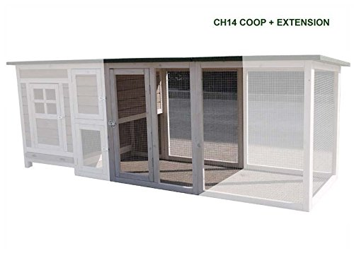 FeelGoodUK Extension Run for Large Chicken Coop Hen House Poultry Ark Home Nest Run Coup (WHITE RUN FOR CH14)
