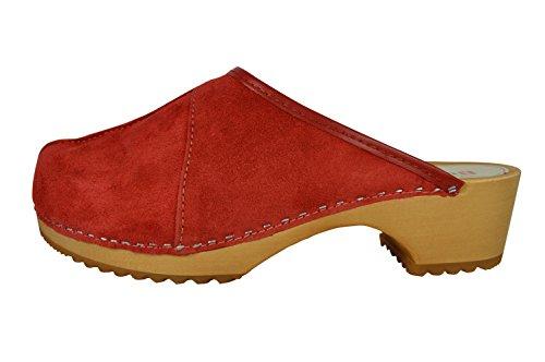Zoccoli Centrale per Donne Legno Cucitura in Rosso Le Scamosciata con Pelle Buxa dwztd