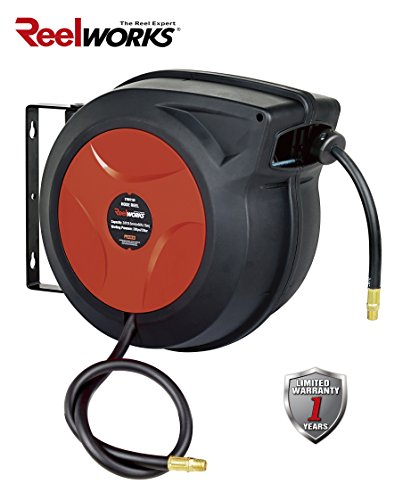 ReelWorks 27807153A Plastic Retractable Air Compressor/Water Hose Reel with 3/8