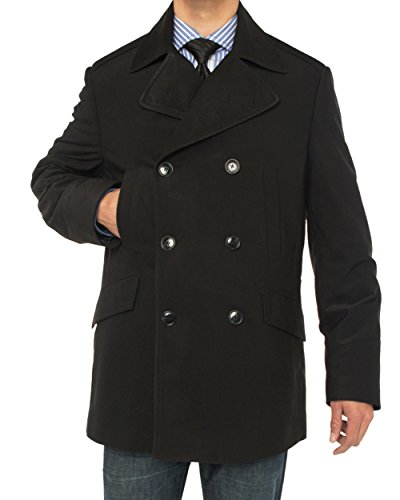 Luciano Natazzi Men's Double Breasted Top Coat Modern Fit Pea Coat (42 US - 52 EU, Black) by Luciano Natazzi (Image #2)
