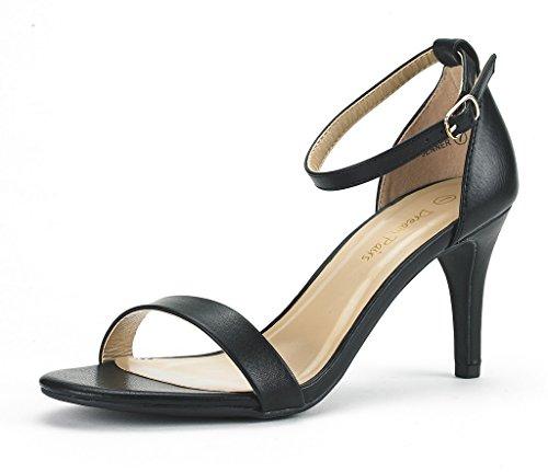 DREAM PAIRS JENNER Women's Evening Dress Low Heel Open Toe Ankle Strap Stiletto Wedding Pumps Sandals Black-PU Size - Toe Black Open Platform