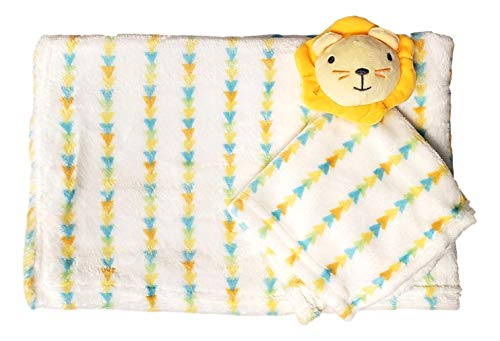 Custom Embroidery Name Baby Blanket (30 x 40 inch) with Lovey Security Blanket (Yellow Lion with Embroidery Name)]()