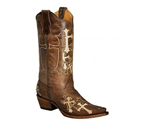 Embroidered Beige Boot Cowgirl G Brown Snip Women's Corral Circle Cross Toe HTIxvw