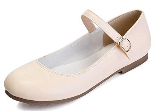 Easemax Womens Casual Round Toe Low Top Flats Mary-Jane Shoes Apricot ZOFKnPt