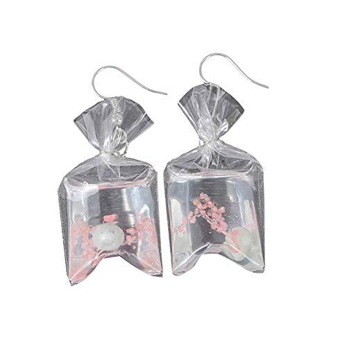 Afco Funny Goldfish Water Bag Dangle Hook Earrings Girl Charm Christmas Gift (Light Pink)