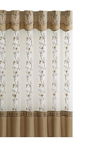 Shower Curtain Valance (GoodGram VCNY Luxurious Daphne Embroidered Sheer & Taffeta Fabric Shower Curtains by Assorted Colors (Beige/Gold))