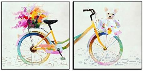 HUGUJH Combinación de cuadros de pintura al óleo pintada a mano pura bicicleta: Amazon.es: Hogar
