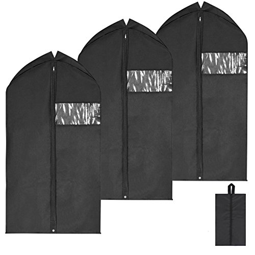 Magicfly Garment Bags Suit Bag for Men Travel, Premium Quality 42 Inch Hanging Suit Covers Full Zipper Pack of 3 (Black)