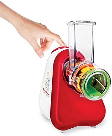 Moulinex Fresh Express DJ7535 Affettatutto Grattugia Elettrico, 3 Funzioni di Taglio, 200 W, Rosso
