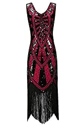 Metme 1920s Vintage Inspired Fringe Embellished Gatsby Flapper Midi Dress Prom Party, Wine, Medium