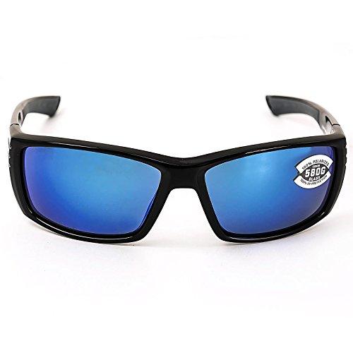 Costa Del Mar Cortez Sunglasses, Shiny Black, Blue Mirror 580 Glass - Costa Mens Glasses