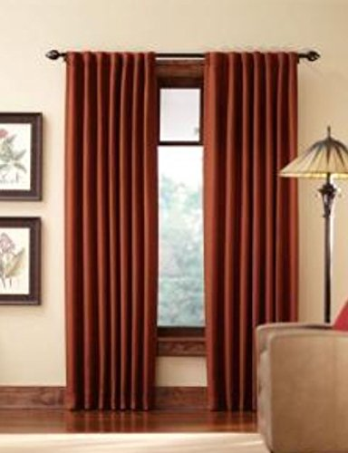 (Home Decorators Collection Terracotta Tweed Room Darkening Back Tab Curtain, 84 in. Length )