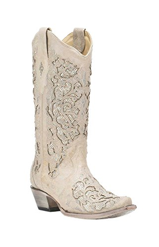 Bridal Cowboy Boots - CORRAL A3322 White Leather Glitter Inlay Boot with Crystals (11)