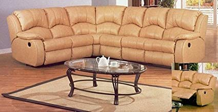 Amazon.com: Almond Color Leather Recliner Sectional Home ...