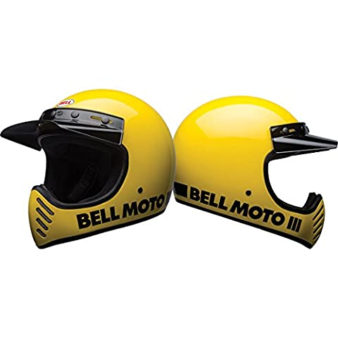 Bell Unisex-Adult Full Face Street Helmet (Classic Yellow, Medium) (Moto 3 D.O.T certified)