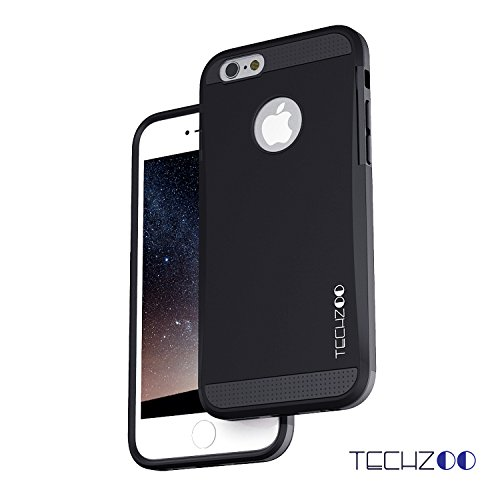 iPhone 6 6s Case, TechZoo THIN ARMOR iPhone 6/6s Casee Fits Both Apple iPhone 6 (2014) / iPhone 6S (2015) Double Layer Shock Absorbing Tough Cover | Best IPHONE 6 / 6S CASE (Black)