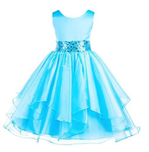 (ekidsbridal Asymmetric Ruffled Organza Sequin Flower Girl Dress Toddler Girl Dresses 012S 6)