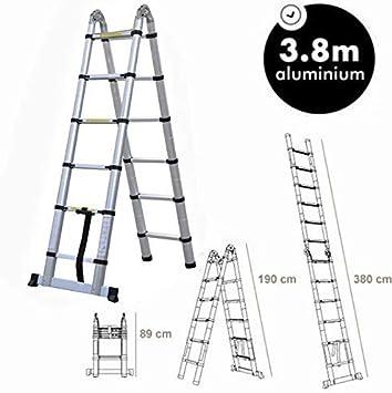 3.8M Loft escalera un bastidor 12 huella del escalón de escalera telescópica de aluminio multiuso con capacidad for 150kg Estándar EN131 dljyy: Amazon.es: Bricolaje y herramientas