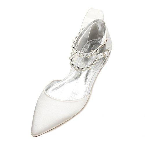 matrimonio donna con basse Moda scarpe con da in piano scarpe di bianco Suggerimento calzature seta scarpe grande piatte di scarpe raso M Qingchunhuangtang TRwpnIxqT