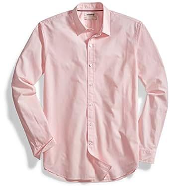 Goodthreads Men's Standard-Fit Long-Sleeve Solid Poplin Shirt, Pink, Small