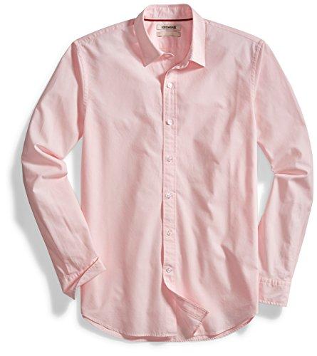 Goodthreads Men's Standard-Fit Long-Sleeve Solid Poplin Shirt, Pink, X-Large