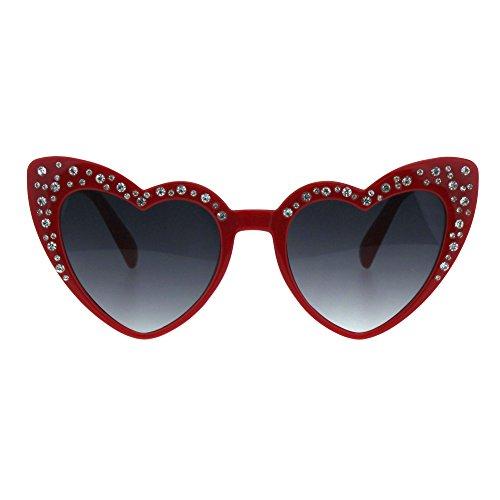 (Sparkling Rhinestone Bling Womens Cat Eye Heart Shape Plastic Sunglasses Red Smoke)